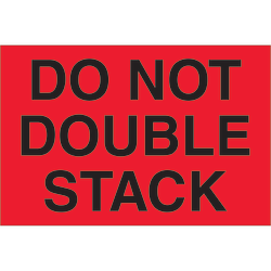 "Tape Logic® Preprinted Shipping Labels, DL1092, Do Not Double Stack, Rectangle, 2"" x 3"", Fluorescent Red, Roll Of 500"