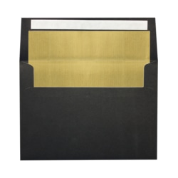 "LUX Foil-Lined Invitation Envelopes With Peel & Press Closure, A4, 4 1/4"" x 6 1/4"", Black/Gold, Pack Of 1,000"