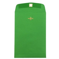 """JAM Paper® Open-End Catalog Envelopes With Clasp Closure, 6"""" x 9"""", 30% Recycled, Green, Pack Of 10"""