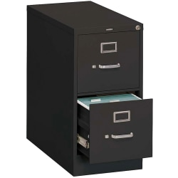 "HON® 310 26-1/2""D Vertical 2-Drawer Legal-Size File Cabinet, Metal, Black"