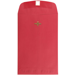 """JAM Paper® Open-End Catalog Envelopes With Clasp Closure, 6"""" x 9"""", 30% Recycled, Red, Pack Of 10"""