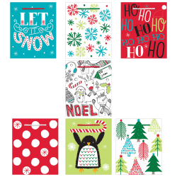 """Amscan Christmas Fun Small Vertical Gift Bags, 5-1/4""""H x 4-1/2""""W x 2-3/4""""D, Assorted Colors, Pack Of 28 Gift Bags"""