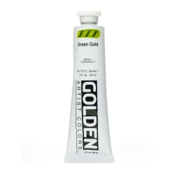 Golden Heavy Body Acrylic Paint, 2 Oz, Green Gold