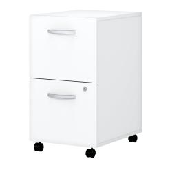 Bush Business Furniture Easy Office 2-Drawer Mobile File Cabinet, White, Standard Delivery