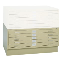 """Safco® 5-Drawer Steel Flat File, 40 3/8""""W x 29 3/8""""D, Tropic Sand"""