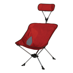Creative Outdoor Rest Chair With Retractable Headrest, Gray/Red