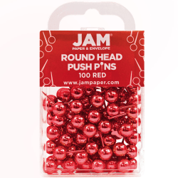 "JAM Paper® Colorful Push Pins, 1/2"", Red, Pack Of 100 Push Pins"