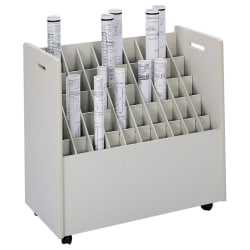 """Safco® Mobile Roll File, 50 Compartments, 2 3/4"""" Tubes"""