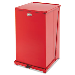 """Rubbermaid® Commercial Defenders® Square Steel Step Can, 40 Gallons, 31"""" x 19"""", Red"""