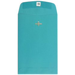 """JAM Paper® Open-End Catalog Envelopes With Clasp Closure, 6"""" x 9"""", 30% Recycled, Sea Blue, Pack Of 10"""