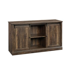 "Sauder® Barrister Lane Credenza With Sliding Doors For 60"" TVs, 33-5/8""H x 61-1/4""W x 19-1/8""D, Iron Oak"