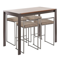 LumiSource Fuji Industrial Counter-Height Dining Table With 4 Stools, Antique Metal/Walnut/Brown Cowboy