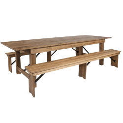 "Flash Furniture Folding Farm Table And 2-Bench Set, 30""H x 40""W x 108""D, Antique Rustic"