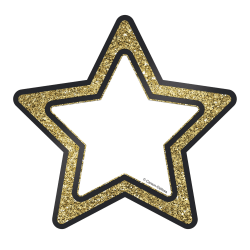 "Carson-Dellosa Sparkle And Shine Single Cut-Outs, Gold Glitter Stars, 8 1/8""H x 5 15/16""W x 1/2""D, Pack Of 36 Cut-Outs"