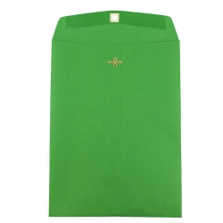 """JAM Paper® Open-End Catalog Envelopes With Clasp Closure, 9"""" x 12"""", 30% Recycled, Green, Pack Of 10"""