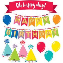 Schoolgirl Style Mini Bulletin Board Set, Just Teach Happy Birthday, Preschool - Grade 5