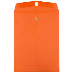 """JAM Paper® Open-End Catalog Envelopes With Clasp Closure, 9"""" x 12"""", 30% Recycled, Orange, Pack Of 10"""