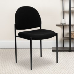 Flash Furniture Comfortable Stackable Side Chair, Black