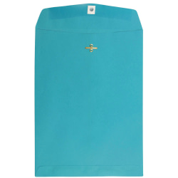 """JAM Paper® Open-End Catalog Envelopes With Clasp Closure, 9"""" x 12"""", 30% Recycled, Sea Blue, Pack Of 10"""