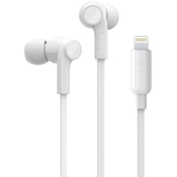 Belkin ROCKSTAR Headphones with Lightning Connector - Stereo - Lightning Connector - Wired - Earbud - Binaural - In-ear - 3.67 ft Cable - White