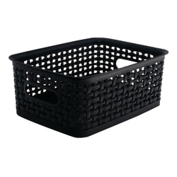 See Jane Work® Plastic Weave Bin, Small Size, Black