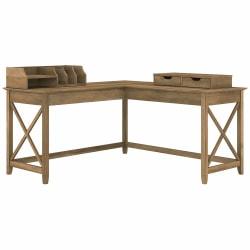 "Bush Furniture Key West 60""W L-Shaped Desk With Desktop Organizers, Reclaimed Pine, Standard Delivery"