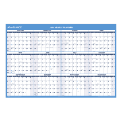 "AT-A-GLANCE® Reversible Erasable Academic/Regular Yearly Wall Calendar, 48"" x 32"", July 2020 To June 2021/January To December 2021, PM326S28"