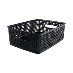 See Jane Work® Plastic Weave Bin, Medium Size, Black