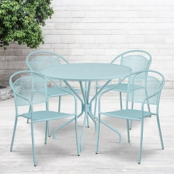 "Flash Furniture Commercial-Grade Round Indoor/Outdoor Metal Patio Table Set With 4 Round-Back Chairs, 28-3/4""H x 35-1/4""W x 35-1/4""D, Sky Blue"