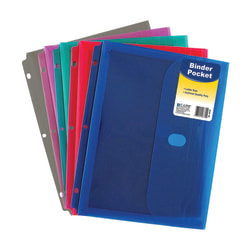 "C-Line® Binder Pockets With Hook-And-Loop Closure, 8 1/2"" x 11"", Assorted Colors, Pack Of 18"