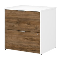 """Bush Business Furniture Jamestown 29-2/3""""W Lateral 2-Drawer File Cabinet, Fresh Walnut/White, Standard Delivery"""