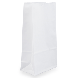 "JAM Paper® Small Kraft Lunch Bags, 4-1/8"" x 8"" x 2-1/4"", White, Pack Of 25 Bags"