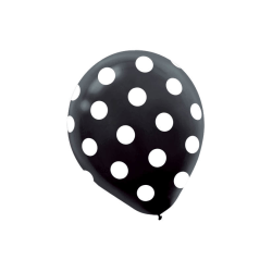"Amscan Polka-Dot Latex Balloons, 12"", Black, 6 Balloons Per Pack, Set Of 3 Packs"