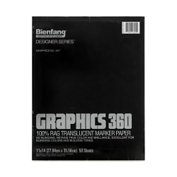 """Bienfang Graphics 360 Translucent Marker Pad, 11"""" x 14"""", White, 50 Sheets"""
