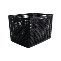 See Jane Work® Plastic Weave Bin, Large Size, Black