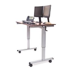"""Luxor Crank 48""""W Adjustable Stand Up Desk, Dark Walnut/Silver"""