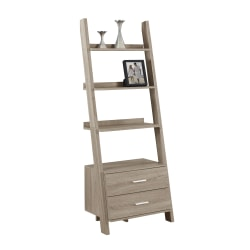 Monarch Specialties 4-Shelf Ladder Bookcase With 2 Drawers, Dark Taupe