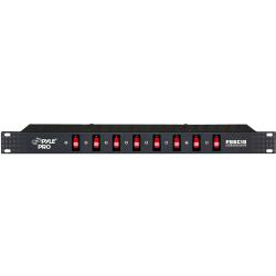 PylePro 8 Outlet Rack Mount Power Supply Center w/Each Outlet Switch - 8 - 120 V AC, 230 V AC - 1U - Rack-mountable