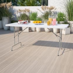 "Flash Furniture Height-Adjustable Plastic Folding Table, 32""H x 30""W x 72""D, Granite White"