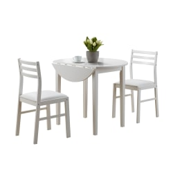 Monarch Specialties Holly Dining Table With 2 Chairs, White
