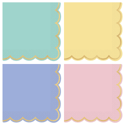 "Amscan Spring 2-Ply Scalloped Beverage Napkins, 5"" x 5"", Assorted, 16 Napkins Per Sleeve, Pack Of 4 Sleeves"