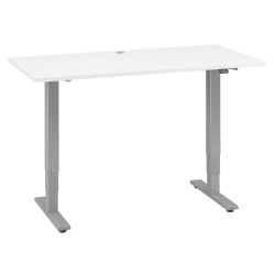 "Move 40 Series by Bush Business Furniture Height-Adjustable Standing Desk, 60"" x 30"", White/Cool Gray Metallic, Standard Delivery"