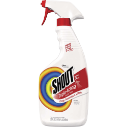 Shout Laundry Stain Remover Spray - Spray - 0.17 gal (22 fl oz) - Bottle - 12 / Carton - White