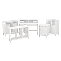 Bush Furniture Broadview Computer Desk With Drawers, Console Table, Bar Cabinet And Storage, Pure White, Standard Delivery
