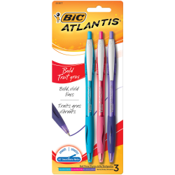 BIC® Atlantis™ Bold Retractable Ballpoint Fashion Pens, Medium Point, 1.6 mm, Assorted Colors, Pack Of 3