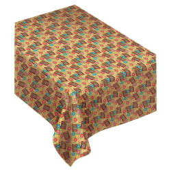 """Amscan Flannel-Backed Table Cover, 52"""" x 90"""", Summer Luau Tiki"""