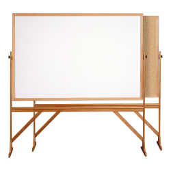 "Ghent 2-Sided Cork Bulletin And Dry-Erase Whiteboard, 78 1/8"" x 77 1/4"", Brown Wood Frame"