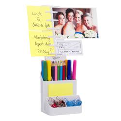 NoteTower® Desktop Organizer Caddy, Note Holder & Supplies Storage, 6 Compartments, White