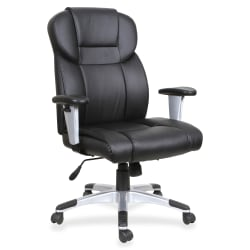Lorell® Bonded Leather High-Back Executive Chair, Black