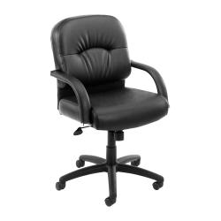 Boss CaressoftPlus Ergonomic Vinyl Mid-Back Chair, Black